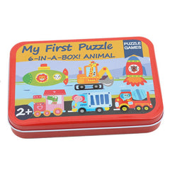 Cartoon Cards for Children Jigsaw Metal Iron Box 3D Wood Puzzle