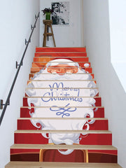 Merry Christmas Santa Claus Print Removable Stair Stickers