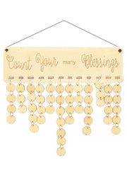 Wooden Count Your Many Blessings Calendar Reminder Board