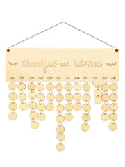 Wooden Thankful and Blessed Calendar Reminder Board