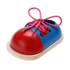 1Pcs Kids Educational Wooden Tie Lacing Shoes Early Learning Toys