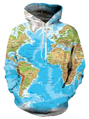 World Map Print Long Sleeve Hoodie