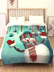 Christmas Snowman Ball Flannel Soft Bed Blanket