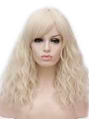 Long Side Bang Natural Wavy Party Synthetic Wig