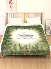 Merry Christmas Leaf Printed Flannel Soft Bed Blanket