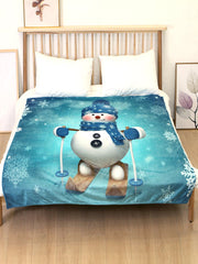 Christmas Snowman Skiing Flannel Soft Bed Blanket