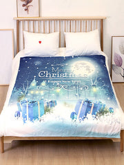 Gift Merry Christmas Printed Flannel Soft Bed Blanket
