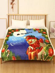 Merry Christmas Snowman Printed Flannel Soft Bed Blanket