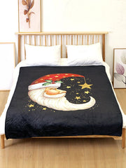 Santa Claus Moon Star Printed Flannel Soft Bed Blanket