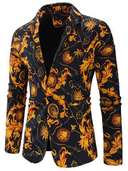 One Button Filigree Print Shawl Collar Blazer