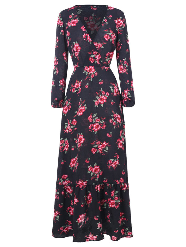Floral Print High Waist Floor Length Dress