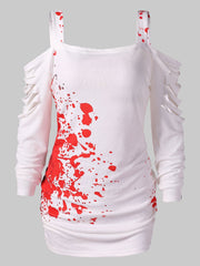 Cold Shoulder Ladder Cut Out Blood Splatter T-Shirt