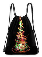 Fluorescent Tree Printed Drawstring Christmas Gift Bag