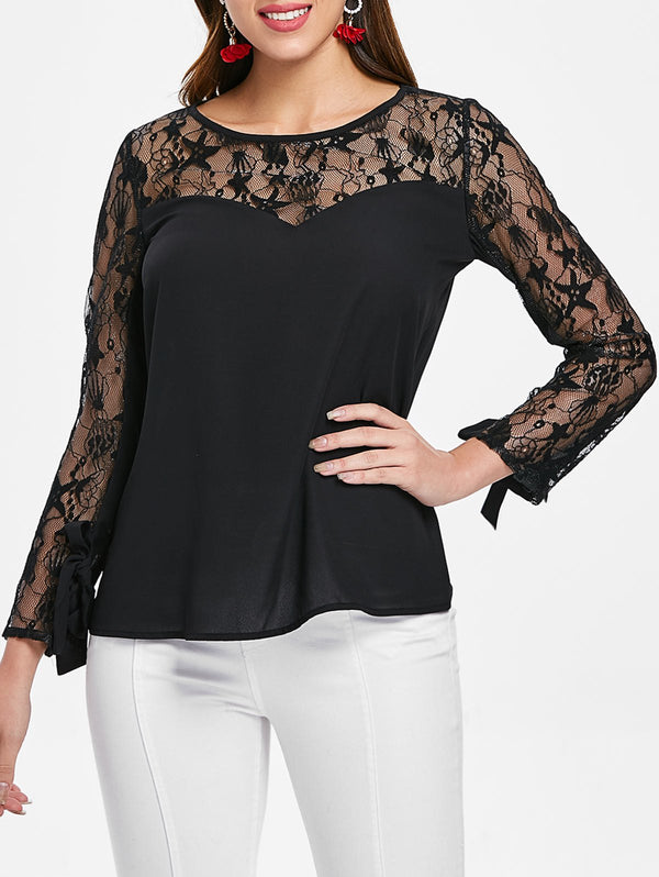 Tie Cuffs Lace Insert Long Sleeve Blouse