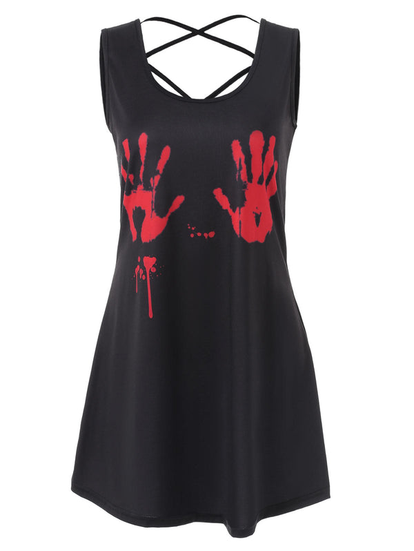 Criss Cross Halloween Print Tank Top