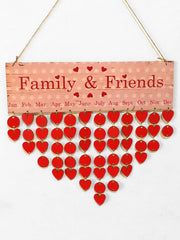 Family Friend Wooden Calendar Reminder Board