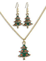 Christmas Tree Desigh Necklace Earrings Set