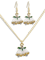 Christmas Bells Design Necklace and Earrings