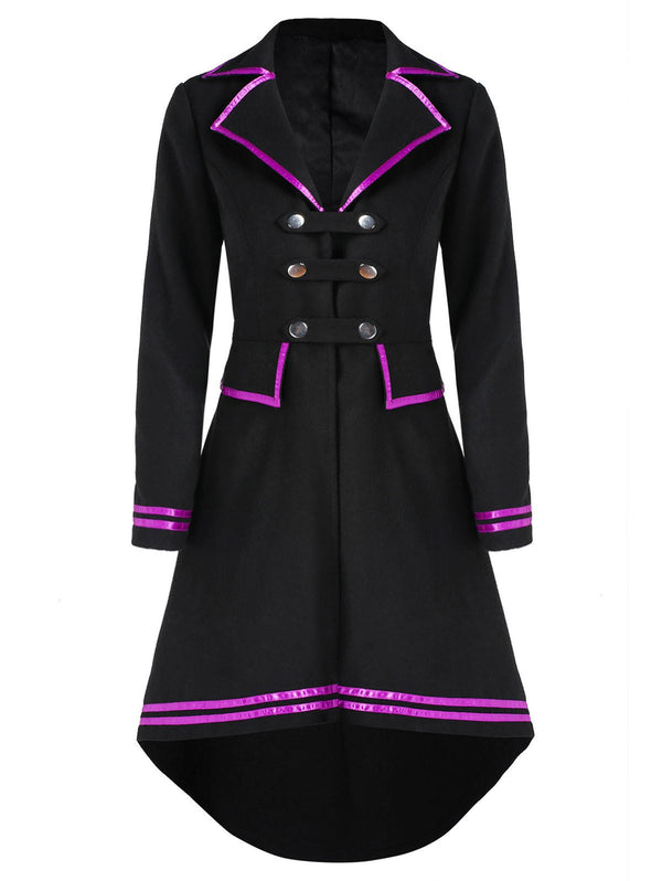 Contrast Binding High Low Button Tab Coat