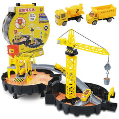 DIY Assembled Tires Construction Site Toy Model for Kids