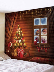 Father Christmas Gift Window Printed Tapestry Art Decoration