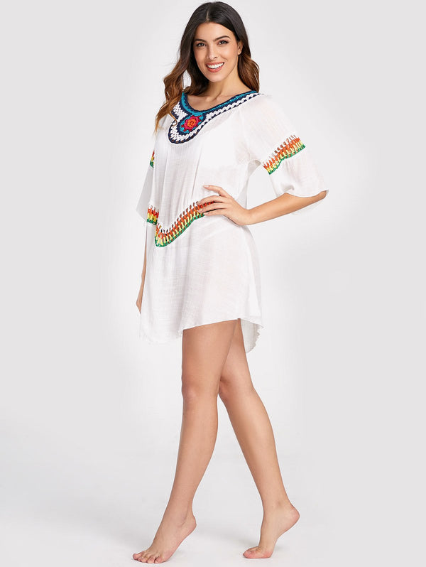 Crochet Raglan Sleeve Cover Up Dress
