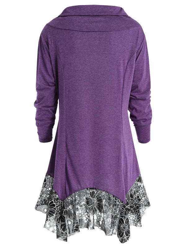 Long Sleeve Cowl Neck Tunic T-shirt