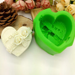 Love Heart Rose Flower Silicone Mold Decorating Sugarcraft Cupcake Mold