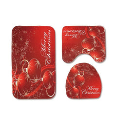 Christmas Toilet Seat Three-Piece Non-Slip Absorbent Bathroom Mat
