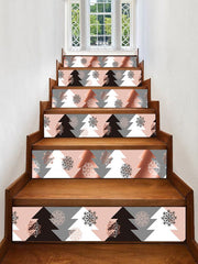 Christmas Tree Snowflake Printed Removable Stair Stickers