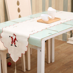 Embroidery Table Runner Christmas Hollow Flag Ornaments Dining Table Dust Cover