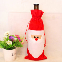 Red Santa Claus Gift Bags Christmas Red Wine Bottle Cover Dining Table Party