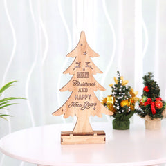 Wooden Christmas Tree with Light Shiny Ornaments