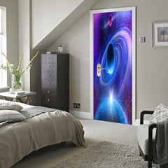 MailingArt 3D HD Canvas Print Door Wall Sticker Mural Home Decor Blue Planets
