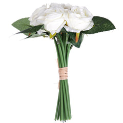 White Rose 6 Heads Home Decoration Branch of Artificial Flowers