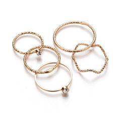 Fashion Women's  5 Piece Wave Rings
