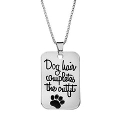 Fashion Leisure Men'S Letters and Dog Paws Square Iron Card Pendant Necklace