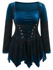 Halloween Lace Up Plus Size Handkerchief Top