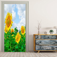 MailingArt 3D HD Canvas Print Door Wall Sticker Mural Home Decor Cloud Sunflower