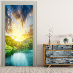 MailingArt 3D HD Canvas Print Door Wall Sticker Mural Home Decor Sunshine Lake