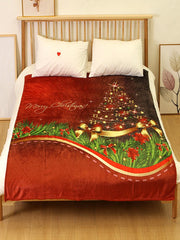 Christmas Tree Printed Flannel Soft Blanket