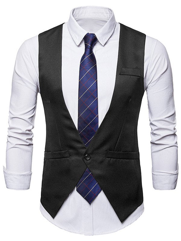 Single Button V Neck Asymmetric Waistcoat