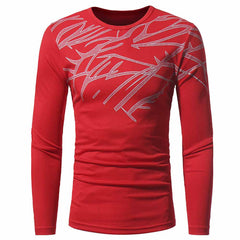 Men's Fashion Breathable Mesh Print Casual Slim Long-Sleeved Round Neck T-Shirt