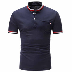 Men's Fashion Color Strip Design Casual Slim Short-Sleeved Stand Collar T-Shirt
