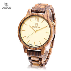 UWOOD UW - 1002 Men Wooden Quartz Watch Nail Shape Scale Daily Water Resistance Wristwatch