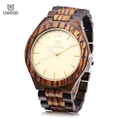 UWOOD UW - 1001 Men Quartz Watch Wooden Case Luminous Pointer Daily Water Resistance Wristwatch