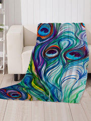 Peacock Feather Pattern Soft Flannel Throw Blanket