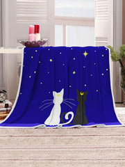 Starry Night Cats Pattern Soft Flannel Throw Blanket