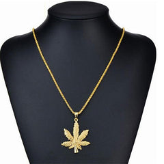 Hip-Hop Black Gold and Silver Maple Necklace Swagger with Men and Women Fashion