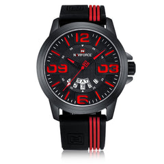 NAVIFORCE Men's Fashion Silicone Sports Water Resistant Date of Quartz Watch